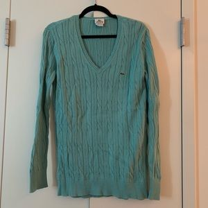Light Blue Lacoste Long Sleeve Knit Sweater